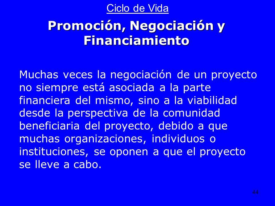 44 Ciclo de Vida Muchas veces la negociación de un proyecto no siempre está asociada a la parte financiera del mismo, sino a la viabilidad desde la pe