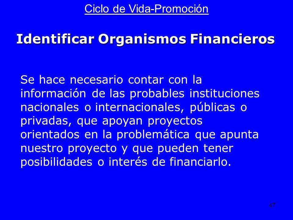47 Ciclo de Vida-Promoción Se hace necesario contar con la información de las probables instituciones nacionales o internacionales, públicas o privada