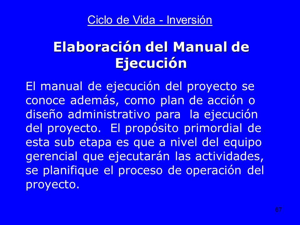 67 Ciclo de Vida - Inversión El manual de ejecución del proyecto se conoce además, como plan de acción o diseño administrativo para la ejecución del p
