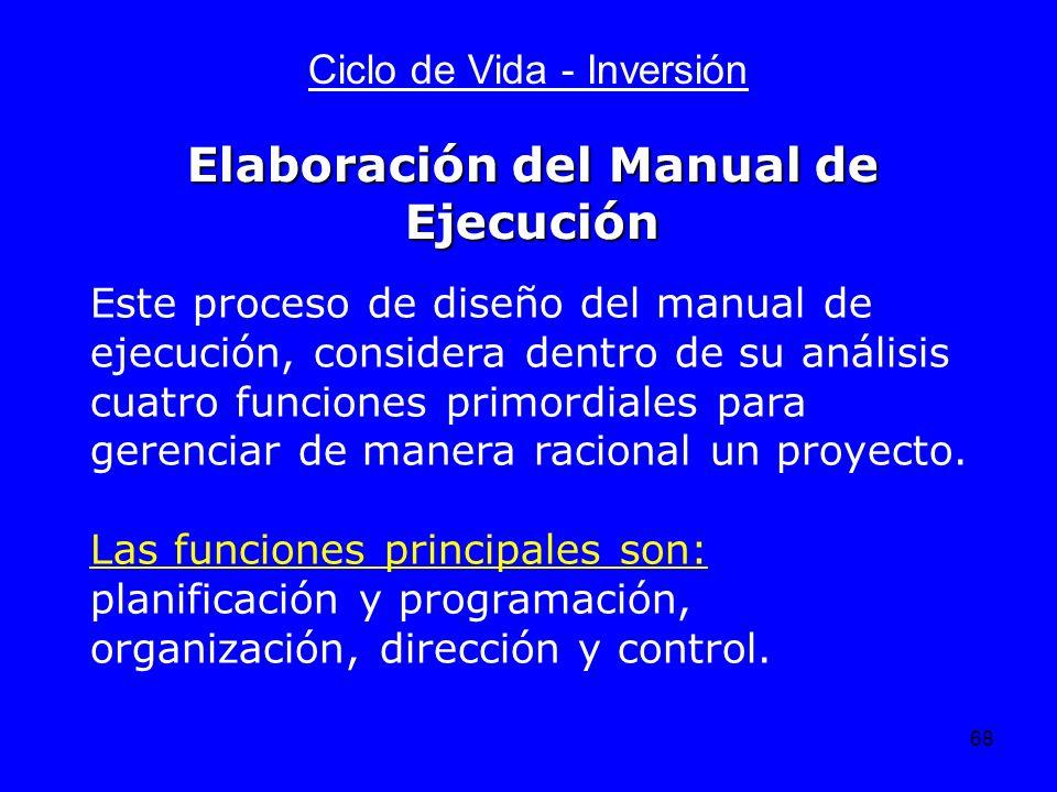 68 Ciclo de Vida - Inversión Este proceso de diseño del manual de ejecución, considera dentro de su análisis cuatro funciones primordiales para gerenc