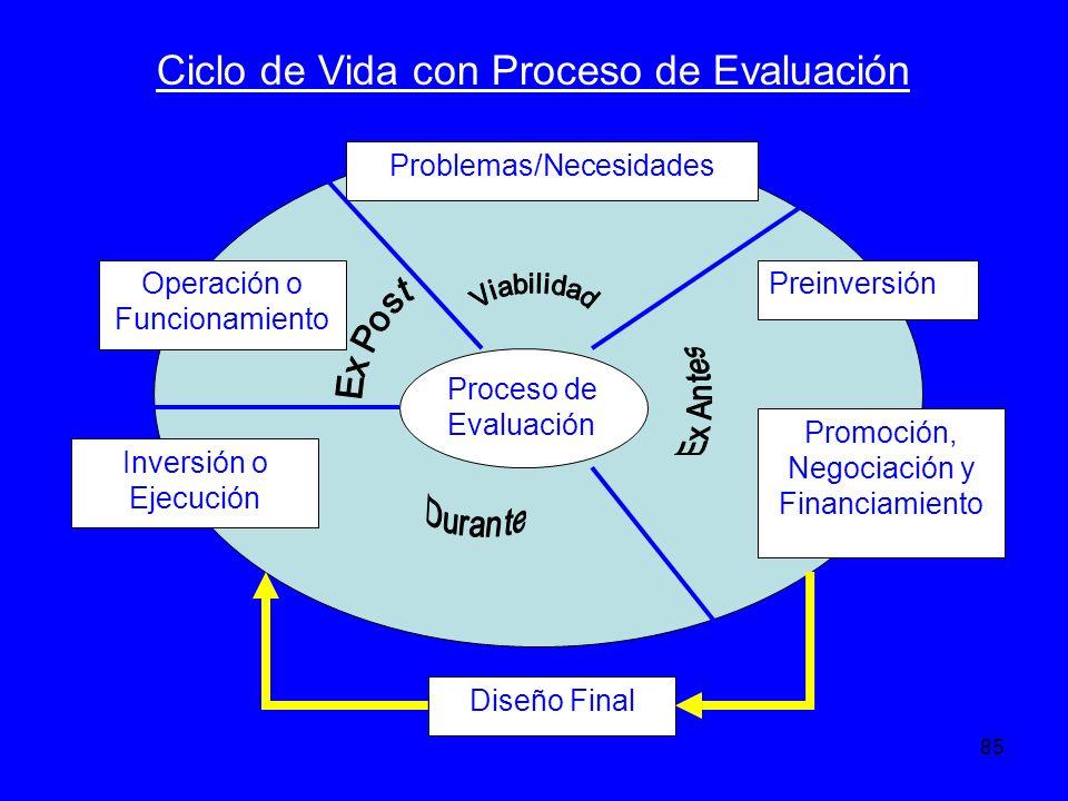 85 Problemas/Necesidades Preinversión Promoción, Negociación y Financiamiento Inversión o Ejecución Operación o Funcionamiento Diseño Final Proceso de