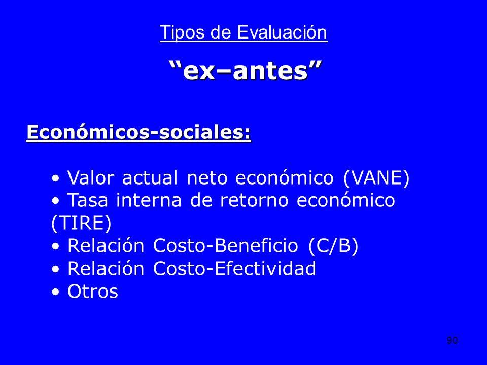 90 Tipos de Evaluación Económicos-sociales: Valor actual neto económico (VANE) Tasa interna de retorno económico (TIRE) Relación Costo-Beneficio (C/B)