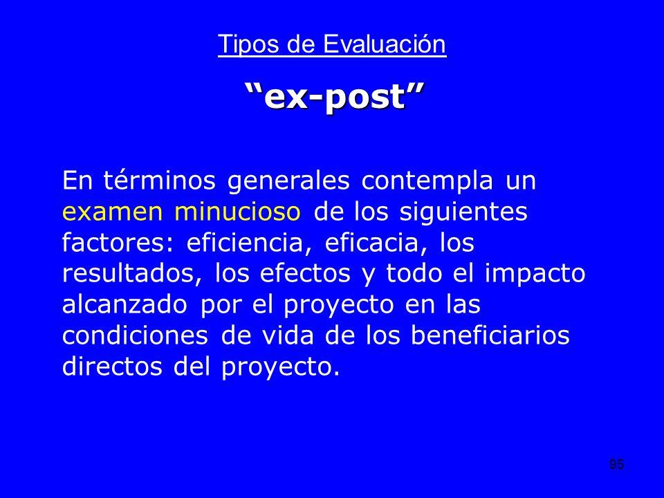 95 Tipos de Evaluación En términos generales contempla un examen minucioso de los siguientes factores: eficiencia, eficacia, los resultados, los efect