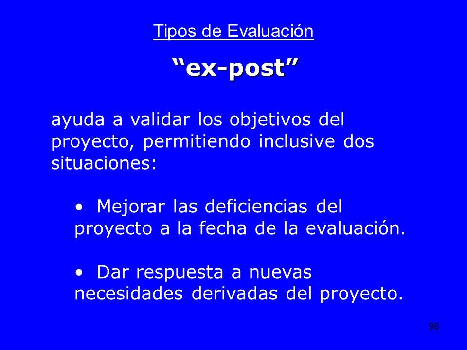 96 Tipos de Evaluación ayuda a validar los objetivos del proyecto, permitiendo inclusive dos situaciones: Mejorar las deficiencias del proyecto a la f