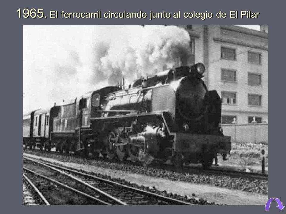 1958. Colegio El Pilar, en Blasco Ibáñez esquina Avenida de Cataluña, en plena huerta. 1962. Colegio El Pilar, calle Gorgos. Todavía están las vías de