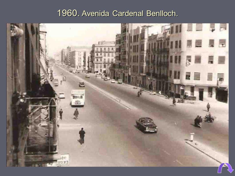 1975. Obras de prolongación de Blasco Ibáñez, desde Cardenal Benlloch hasta Doctor Manuel Candela. 1964. Avenida Blasco Ibáñez, parroquia de San Franc
