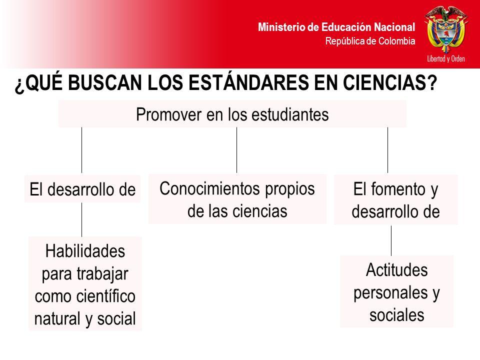 Ministerio de Educación Nacional República de Colombia ¿QUÉ BUSCAN LOS ESTÁNDARES EN CIENCIAS? Promover en los estudiantes El desarrollo de Habilidade