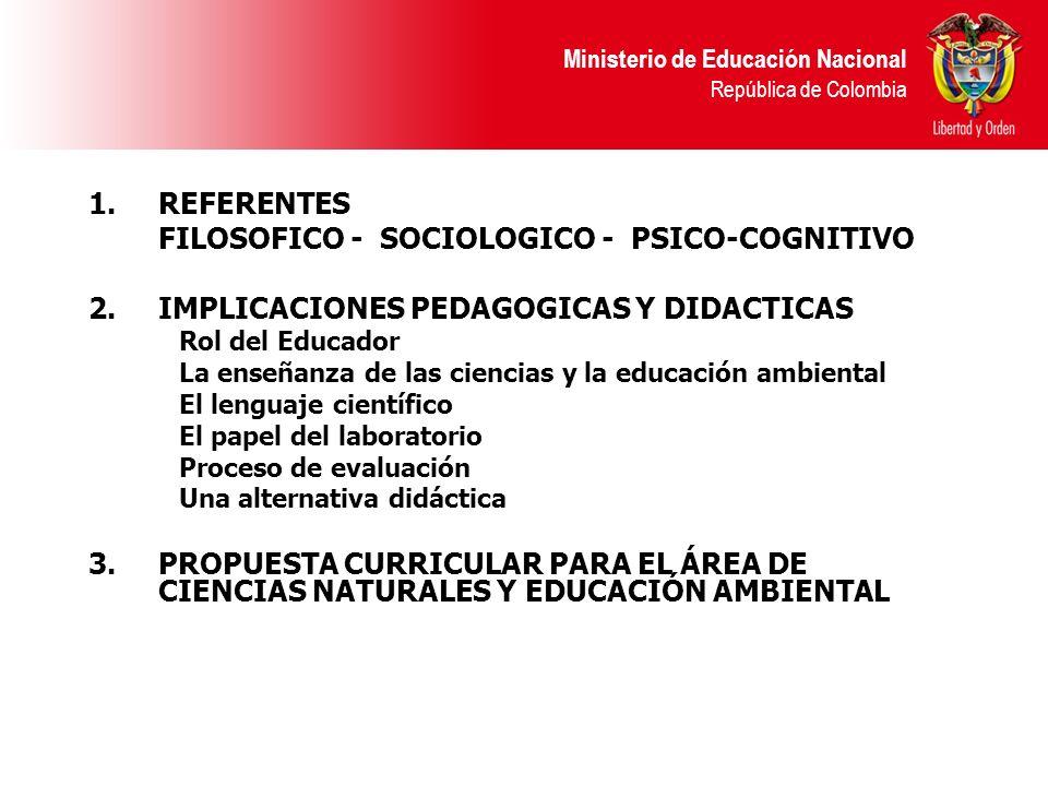 Ministerio de Educación Nacional República de Colombia 1.REFERENTES FILOSOFICO - SOCIOLOGICO - PSICO-COGNITIVO 2.IMPLICACIONES PEDAGOGICAS Y DIDACTICA