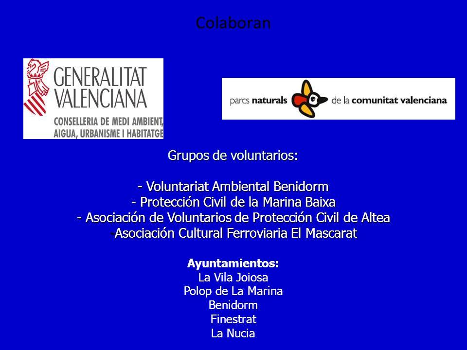 Colaboran Grupos de voluntarios: - Voluntariat Ambiental Benidorm - Protección Civil de la Marina Baixa - Asociación de Voluntarios de Protección Civi