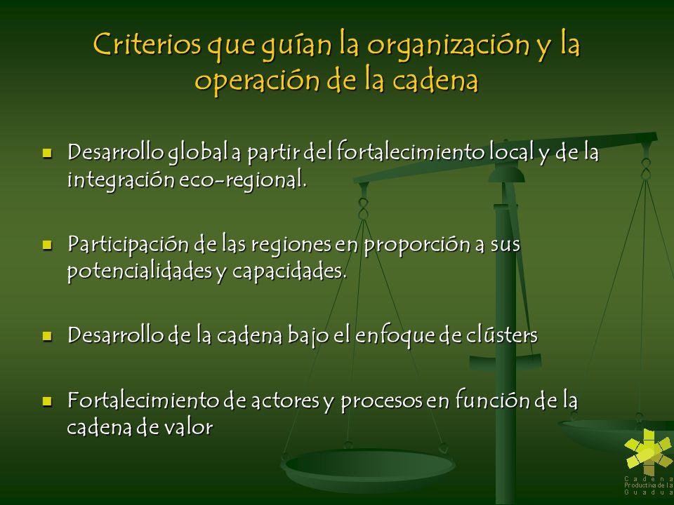 Criterios que guían la organización y la operación de la cadena Desarrollo global a partir del fortalecimiento local y de la integración eco-regional.