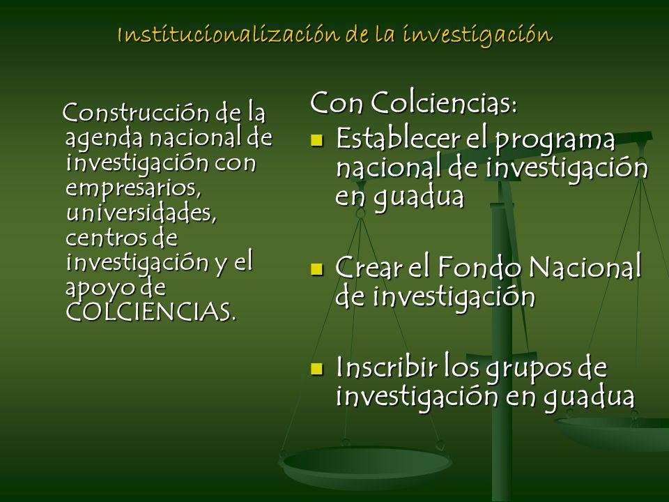 Institucionalización de la investigación Construcción de la agenda nacional de investigación con empresarios, universidades, centros de investigación y el apoyo de COLCIENCIAS.