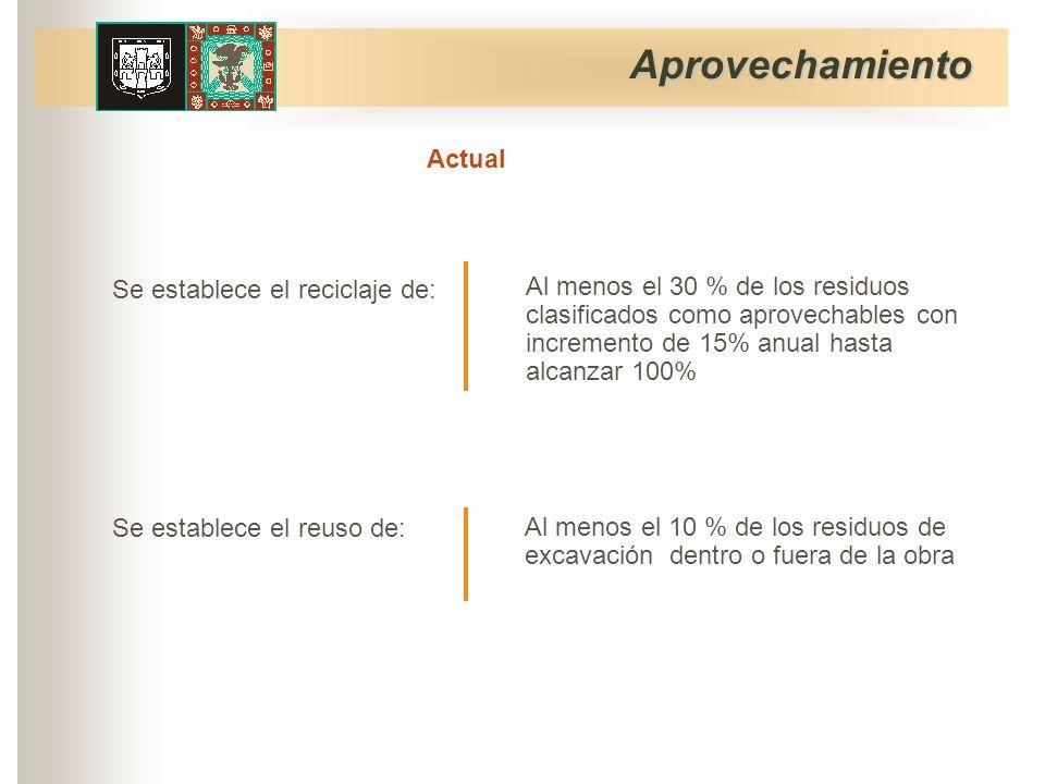 Aprovechamiento Se establece el reuso de: Se establece el reciclaje de: Al menos el 30 % de los residuos clasificados como aprovechables con incremento de 15% anual hasta alcanzar 100% Al menos el 10 % de los residuos de excavación dentro o fuera de la obra Actual