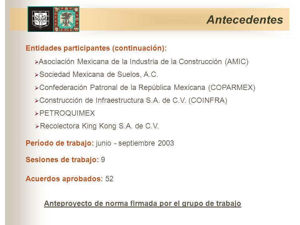 Antecedentes Período de trabajo: junio - septiembre 2003 Sesiones de trabajo: 9 Anteproyecto de norma firmada por el grupo de trabajo Acuerdos aprobados: 52 Entidades participantes (continuación): PETROQUIMEX Construcción de Infraestructura S.A.