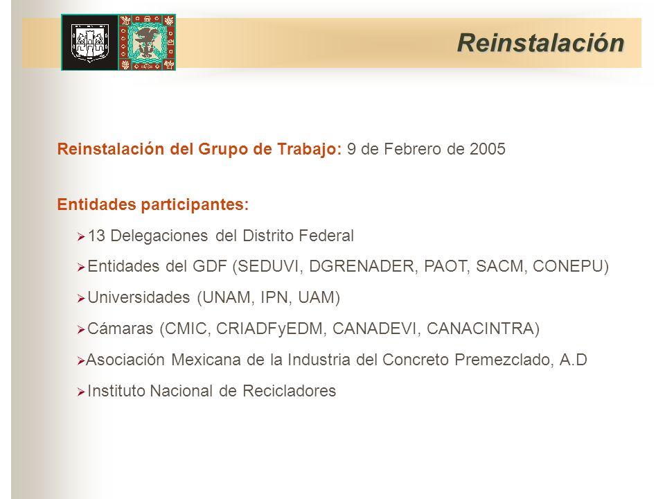 Reinstalación del Grupo de Trabajo: 9 de Febrero de 2005 Entidades participantes: Reinstalación Instituto Nacional de Recicladores Asociación Mexicana de la Industria del Concreto Premezclado, A.D Cámaras (CMIC, CRIADFyEDM, CANADEVI, CANACINTRA) Universidades (UNAM, IPN, UAM) Entidades del GDF (SEDUVI, DGRENADER, PAOT, SACM, CONEPU) 13 Delegaciones del Distrito Federal