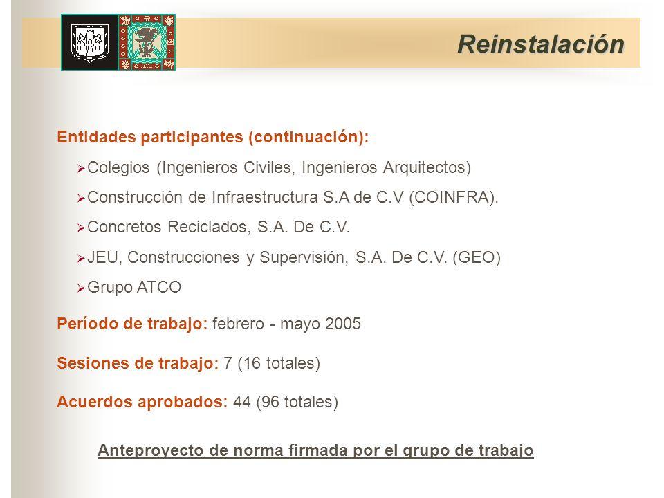 Período de trabajo: febrero - mayo 2005 Sesiones de trabajo: 7 (16 totales) Acuerdos aprobados: 44 (96 totales) Reinstalación Entidades participantes (continuación): Grupo ATCO JEU, Construcciones y Supervisión, S.A.