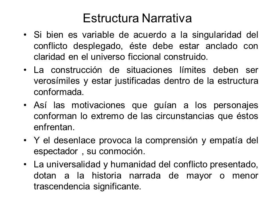 Estructura Narrativa Si bien es variable de acuerdo a la singularidad del conflicto desplegado, éste debe estar anclado con claridad en el universo ficcional construido.