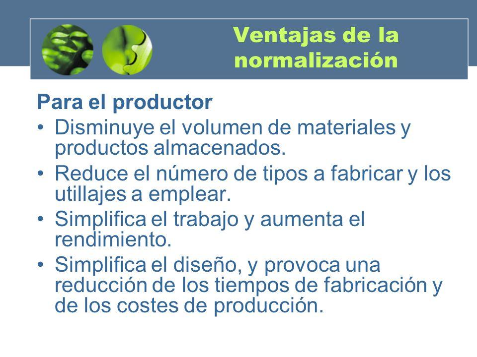 Ventajas de la normalización Para el productor Disminuye el volumen de materiales y productos almacenados.