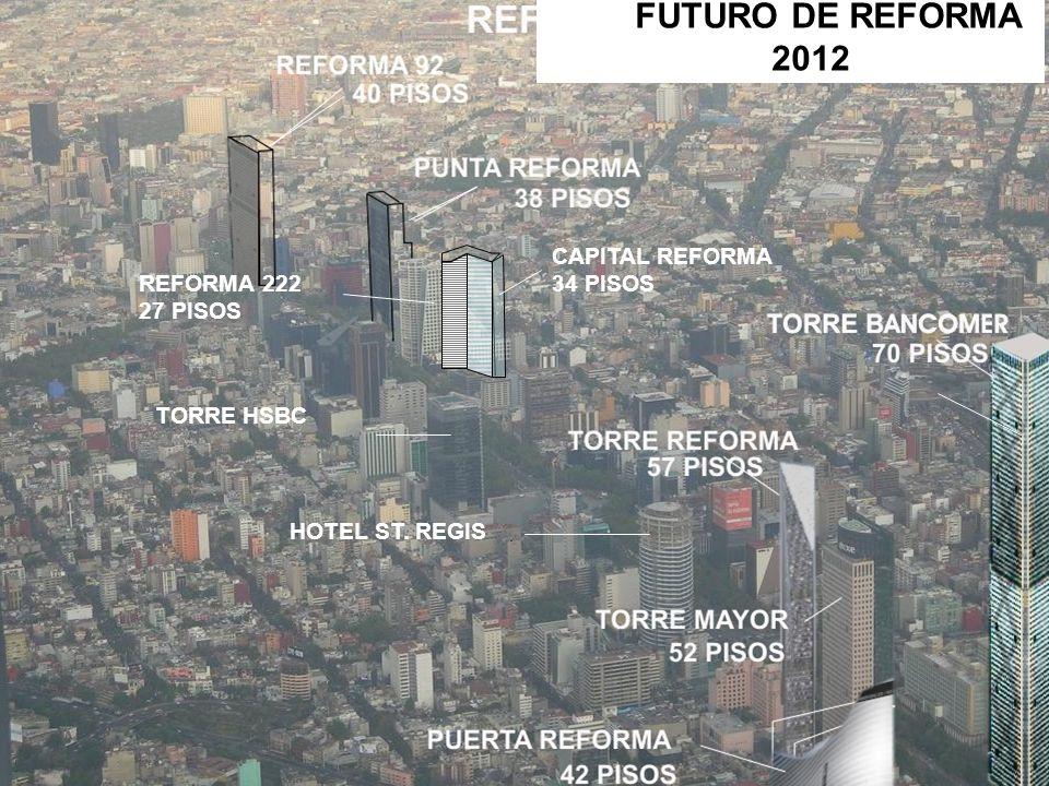 HOTEL ST. REGIS TORRE HSBC REFORMA 222 27 PISOS CAPITAL REFORMA 34 PISOS FUTURO DE REFORMA 2012