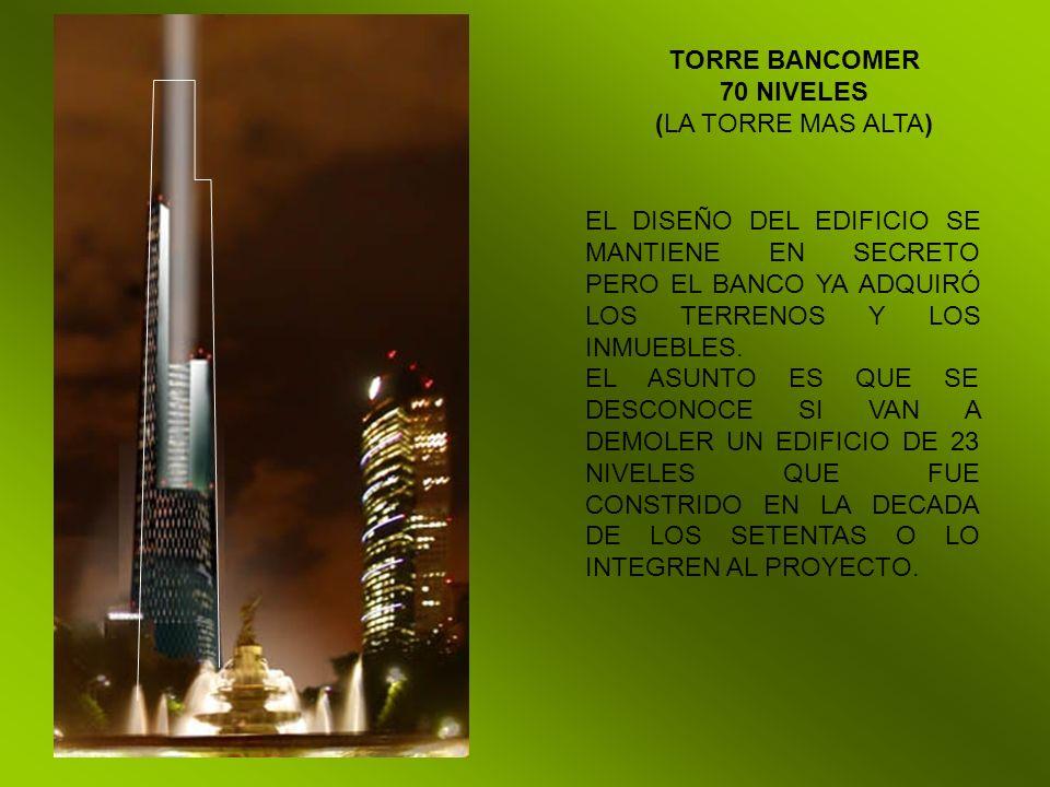 TORRE BANCOMER 70 NIVELES (LA TORRE MAS ALTA) EL DISEÑO DEL EDIFICIO SE MANTIENE EN SECRETO PERO EL BANCO YA ADQUIRÓ LOS TERRENOS Y LOS INMUEBLES. EL