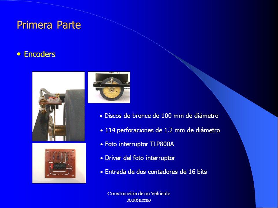 Construcción de un Vehículo Autónomo Primera Parte Encoders Discos de bronce de 100 mm de diámetro 114 perforaciones de 1.2 mm de diámetro Foto interruptor TLP800A Driver del foto interruptor Entrada de dos contadores de 16 bits