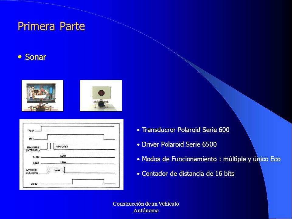 Construcción de un Vehículo Autónomo Primera Parte Sonar Transducror Polaroid Serie 600 Driver Polaroid Serie 6500 Modos de Funcionamiento : múltiple y único Eco Contador de distancia de 16 bits