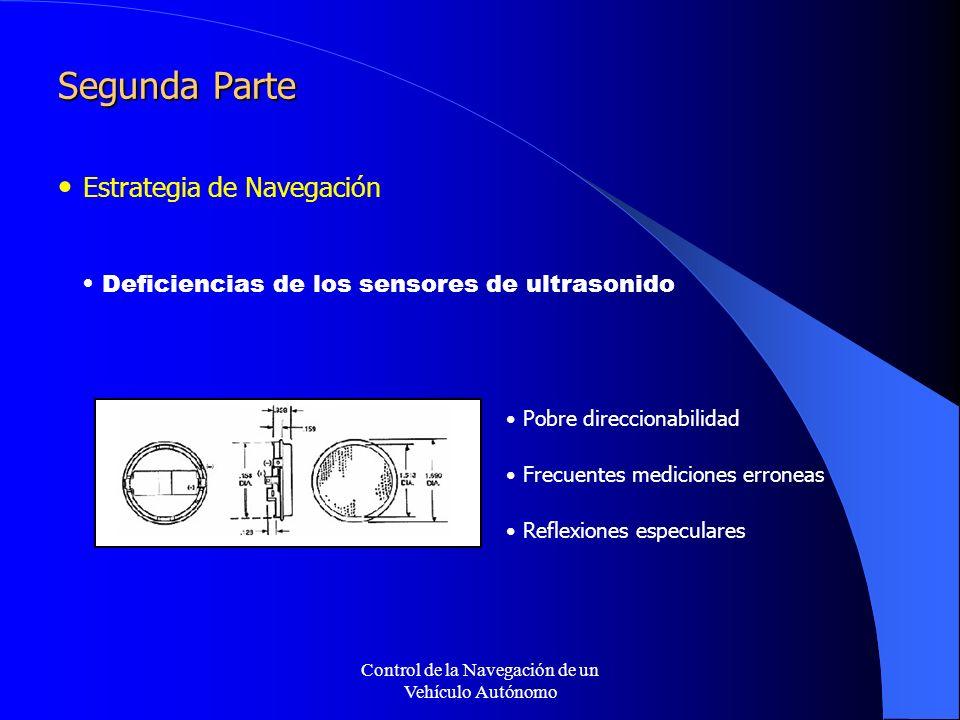 Control de la Navegación de un Vehículo Autónomo Segunda Parte Estrategia de Navegación Pobre direccionabilidad Frecuentes mediciones erroneas Reflexiones especulares Deficiencias de los sensores de ultrasonido