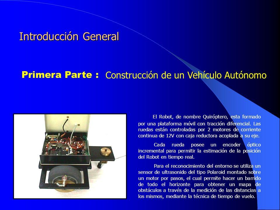 Primera Parte : Construcción de un Vehículo Autónomo El Robot, de nombre Quiróptero, esta formado por una plataforma móvil con tracción diferencial.