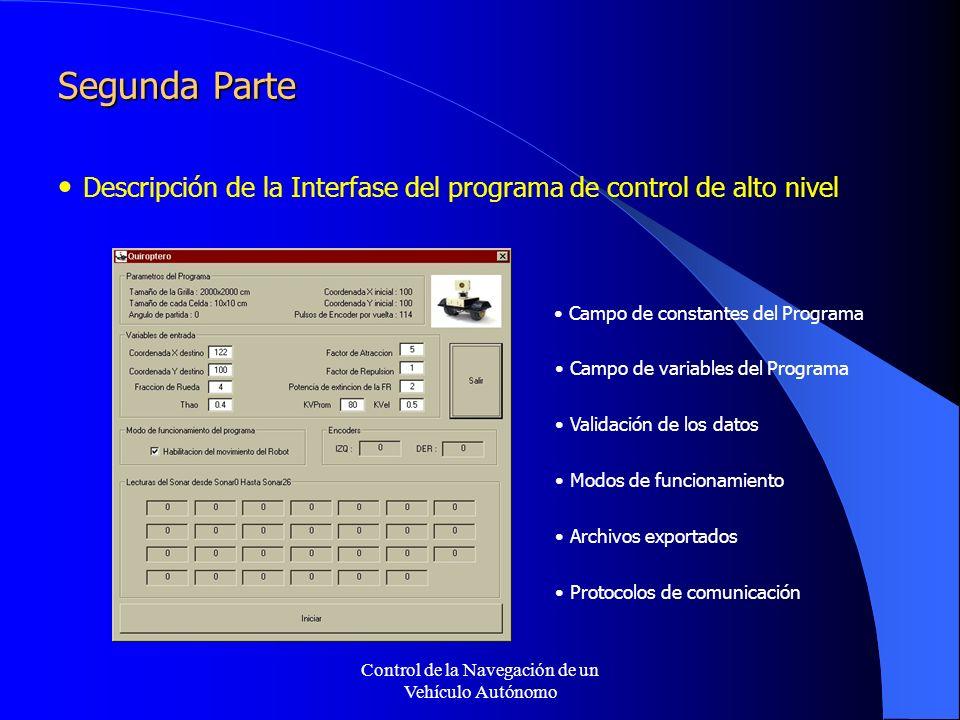 Control de la Navegación de un Vehículo Autónomo Segunda Parte Descripción de la Interfase del programa de control de alto nivel Campo de constantes del Programa Campo de variables del Programa Validación de los datos Modos de funcionamiento Archivos exportados Protocolos de comunicación