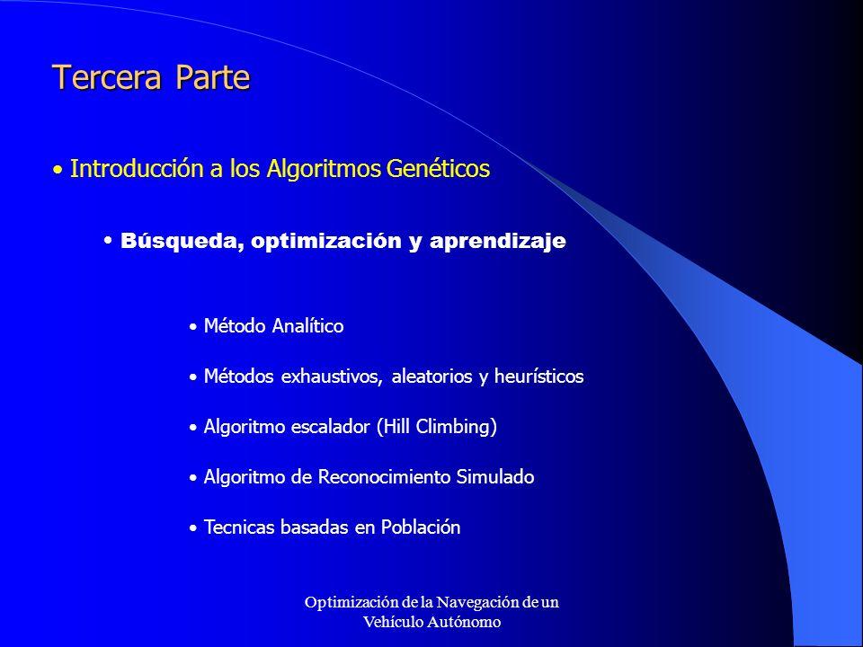 Optimización de la Navegación de un Vehículo Autónomo Tercera Parte Introducción a los Algoritmos Genéticos Búsqueda, optimización y aprendizaje Método Analítico Métodos exhaustivos, aleatorios y heurísticos Algoritmo escalador (Hill Climbing) Algoritmo de Reconocimiento Simulado Tecnicas basadas en Población