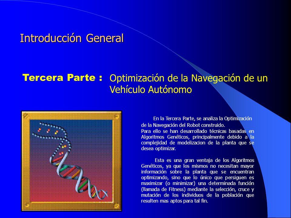 Optimización de la Navegación de un Vehículo Autónomo Tercera Parte Algoritmo Genético Simple Los algoritmos genéticos son métodos sistemáticos para la resolución de problemas de búsqueda y optimización que aplican a estos los mismos métodos de la evolución biológica: selección basada en la población, reproducción sexual y mutación.