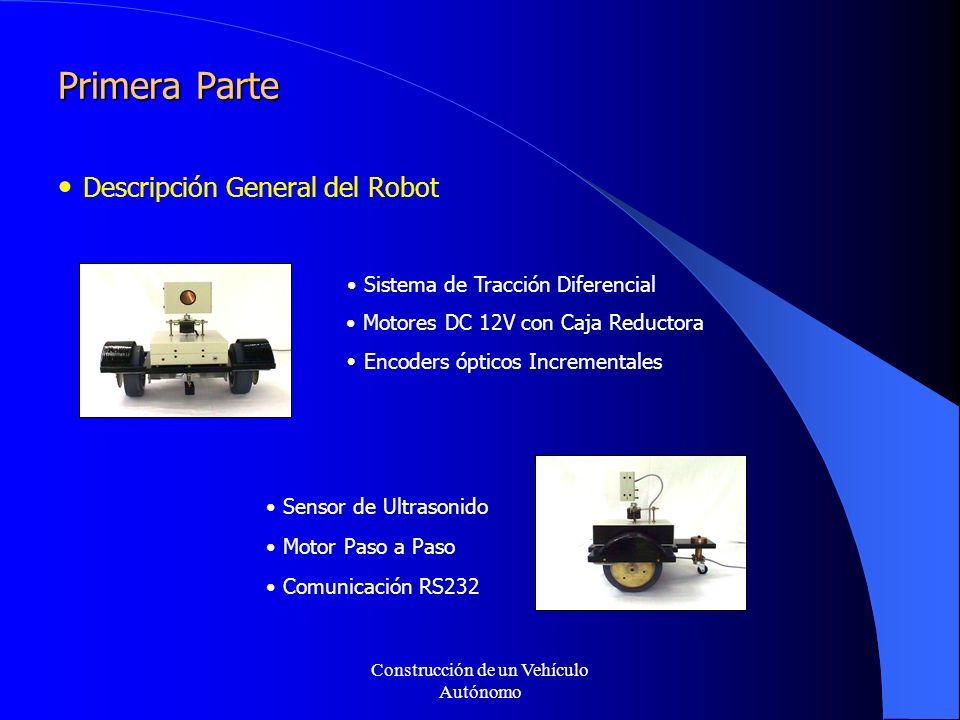 Primera Parte Descripción General del Robot Sistema de Tracción Diferencial Motores DC 12V con Caja Reductora Encoders ópticos Incrementales Sensor de Ultrasonido Motor Paso a Paso Comunicación RS232