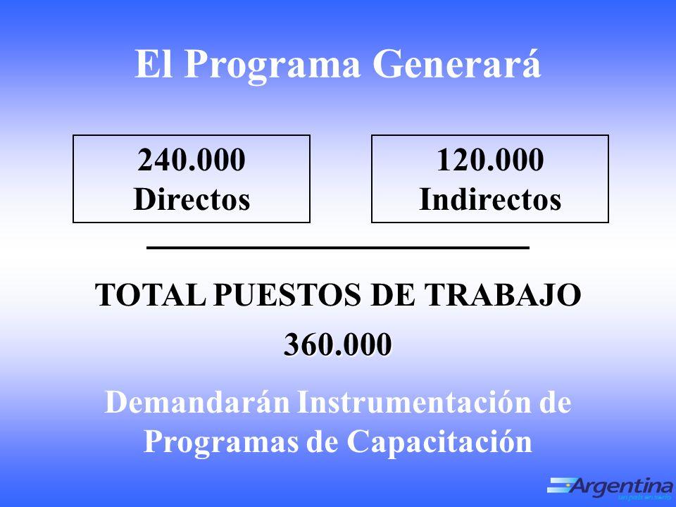 Demandarán Instrumentación de Programas de Capacitación El Programa Generará TOTAL PUESTOS DE TRABAJO 360.000 240.000 Directos 120.000 Indirectos
