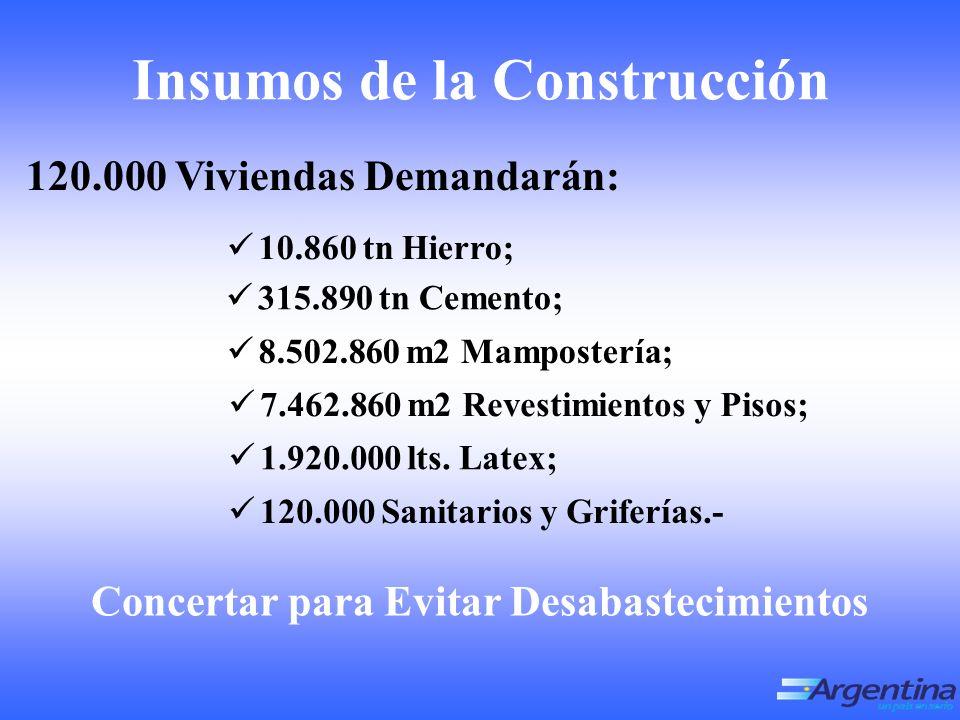120.000 Viviendas Demandarán: 1 0.860 tn Hierro; 3 15.890 tn Cemento; Concertar para Evitar Desabastecimientos Insumos de la Construcción 8.502.860 m2 Mampostería; 7.462.860 m2 Revestimientos y Pisos; 1.920.000 lts.