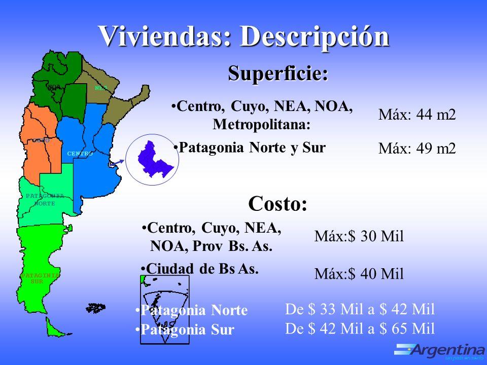 Viviendas: Descripción Superficie: Centro, Cuyo, NEA, NOA, Metropolitana: Máx: 44 m2 Patagonia Norte y Sur Máx: 49 m2 Costo: Centro, Cuyo, NEA, NOA, Prov Bs.