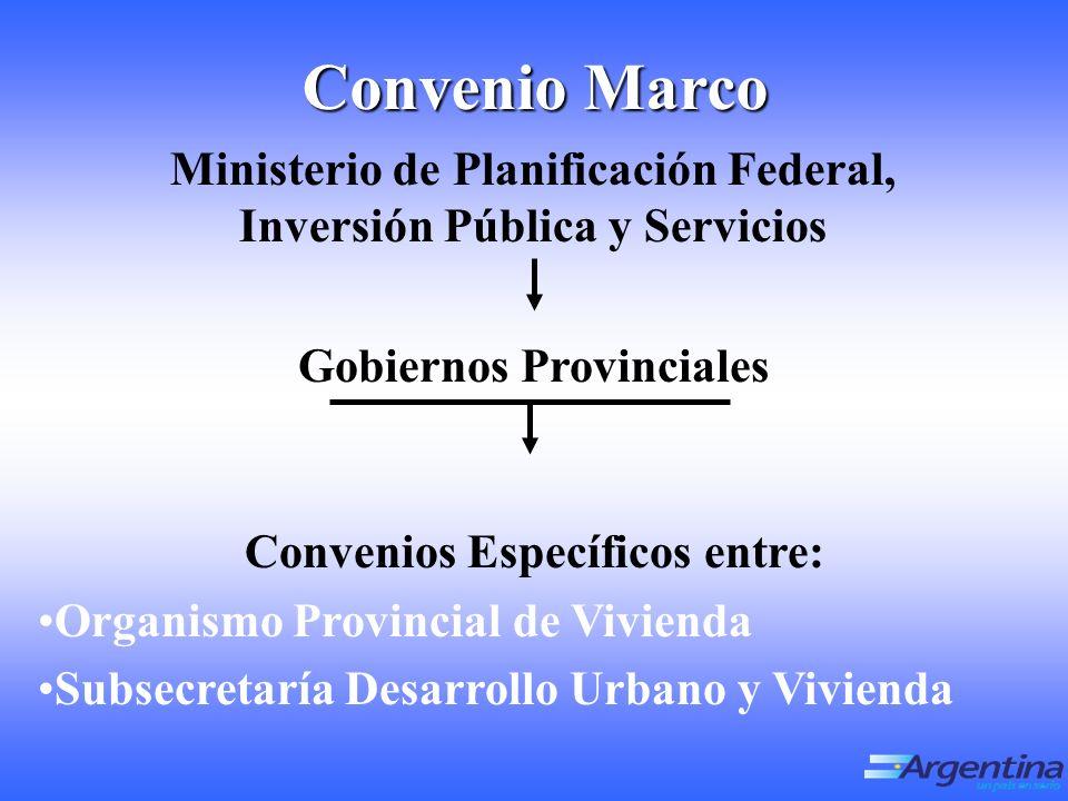 Ministerio de Planificación Federal, Inversión Pública y Servicios Gobiernos Provinciales Convenios Específicos entre: Organismo Provincial de Vivienda Subsecretaría Desarrollo Urbano y Vivienda Convenio Marco