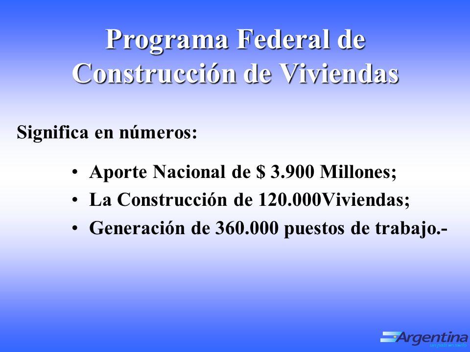 Significa en números: Aporte Nacional de $ 3.900 Millones; La Construcción de 120.000Viviendas; Generación de 360.000 puestos de trabajo.- Programa Federal de Construcción de Viviendas
