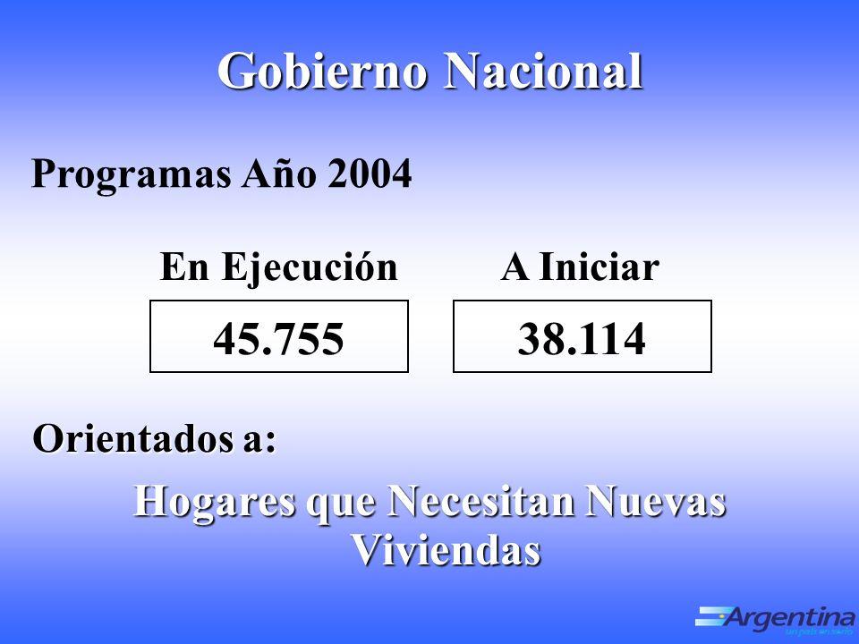 Gobierno Nacional Hogares que Necesitan Nuevas Viviendas Programas Año 2004 En EjecuciónA Iniciar Orientados a: 45.75538.114