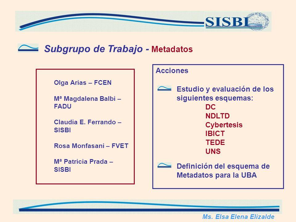 Subgrupo de Trabajo - Metadatos Olga Arias – FCEN Mª Magdalena Balbi – FADU Claudia E.