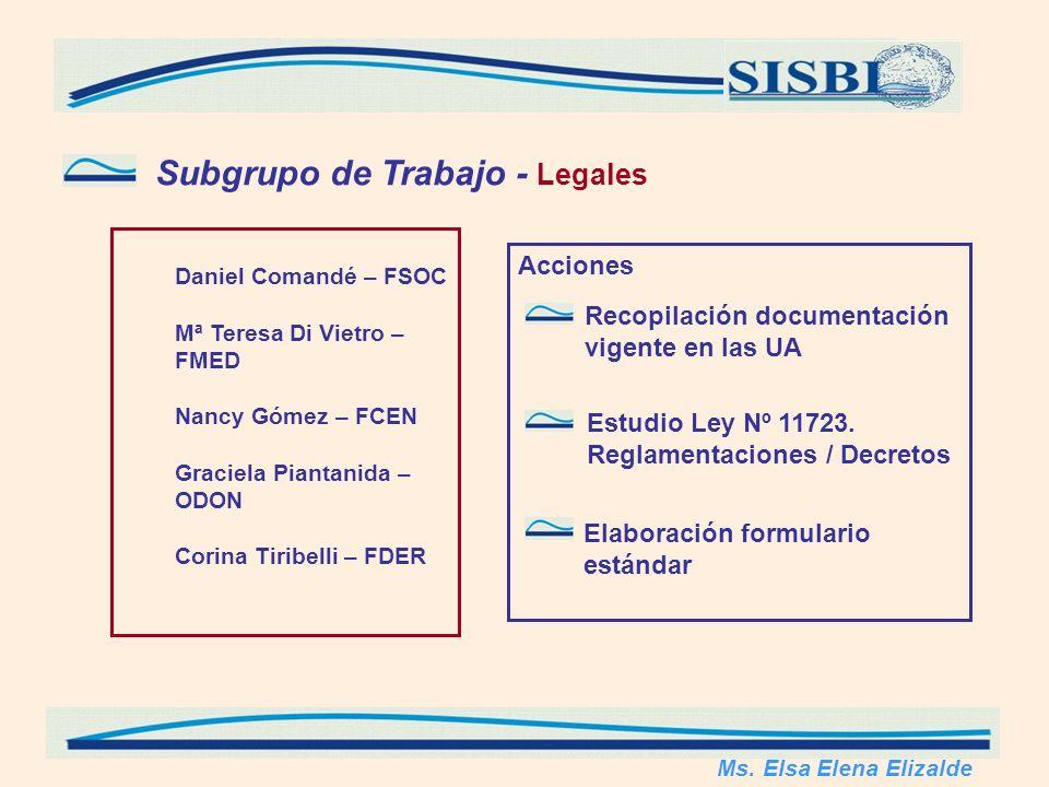 Subgrupo de Trabajo - Legales Daniel Comandé – FSOC Mª Teresa Di Vietro – FMED Nancy Gómez – FCEN Graciela Piantanida – ODON Corina Tiribelli – FDER Ms.