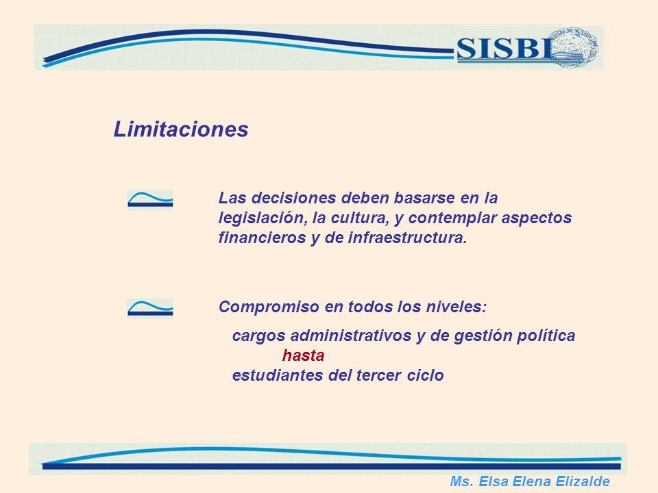 Limitaciones Las decisiones deben basarse en la legislación, la cultura, y contemplar aspectos financieros y de infraestructura.