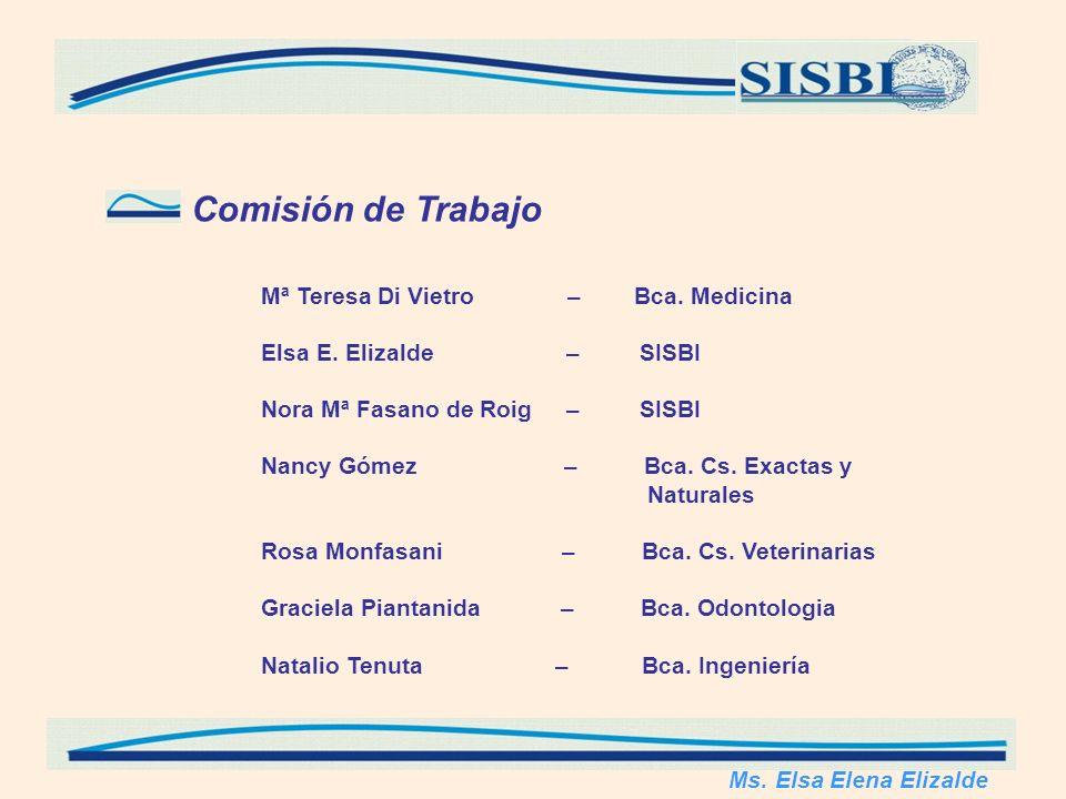 Comisión de Trabajo Mª Teresa Di Vietro – Bca. Medicina Elsa E. Elizalde – SISBI Nora Mª Fasano de Roig – SISBI Nancy Gómez – Bca. Cs. Exactas y Natur