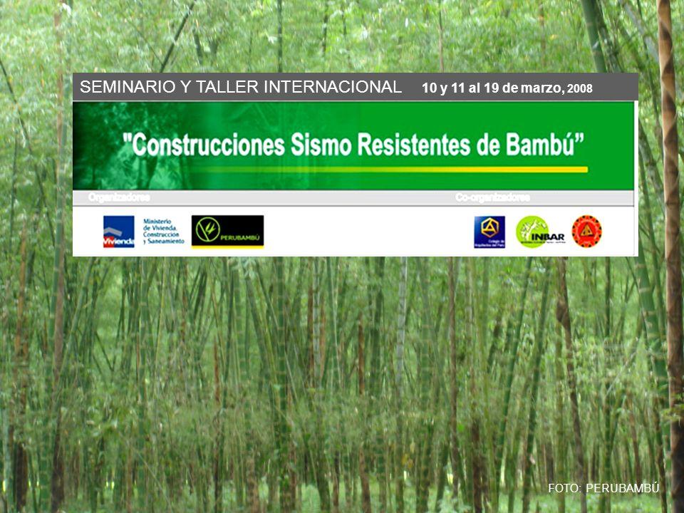 OBJETIVOS Promover el uso del bambú como material para la industria moderna de la construcción.