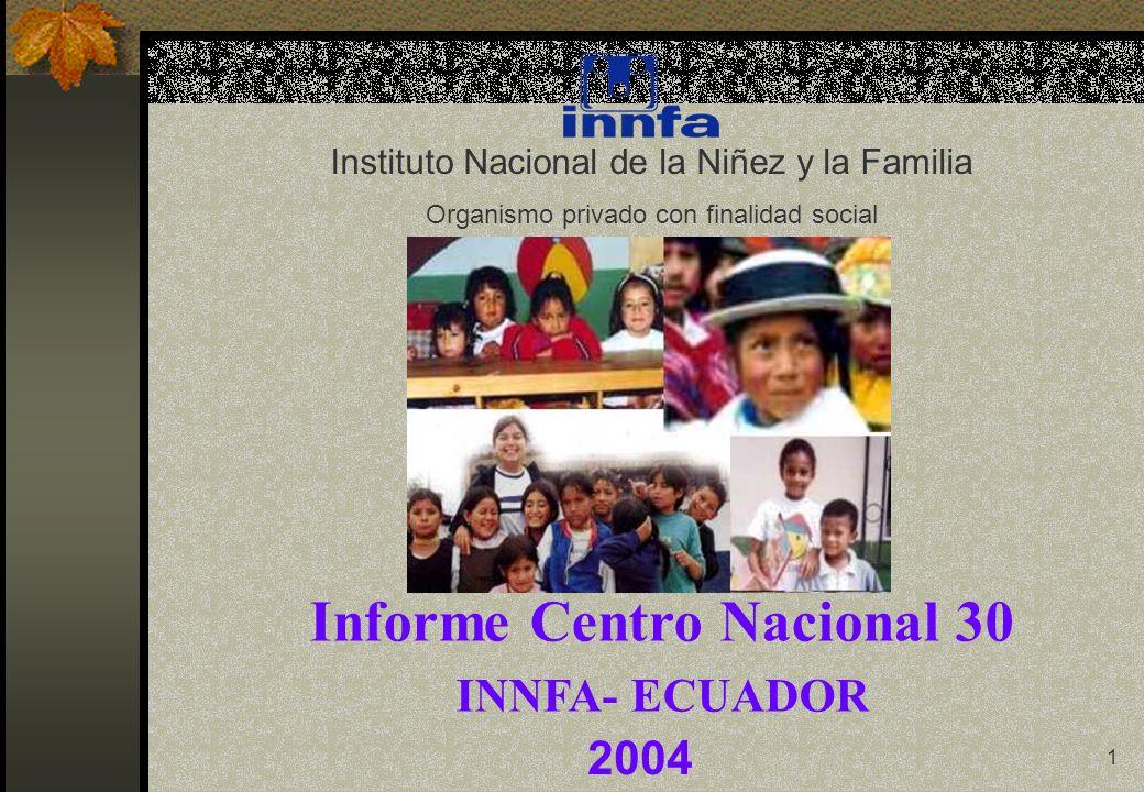 1 2004 Instituto Nacional de la Niñez y la Familia Organismo privado con finalidad social Informe Centro Nacional 30 INNFA- ECUADOR