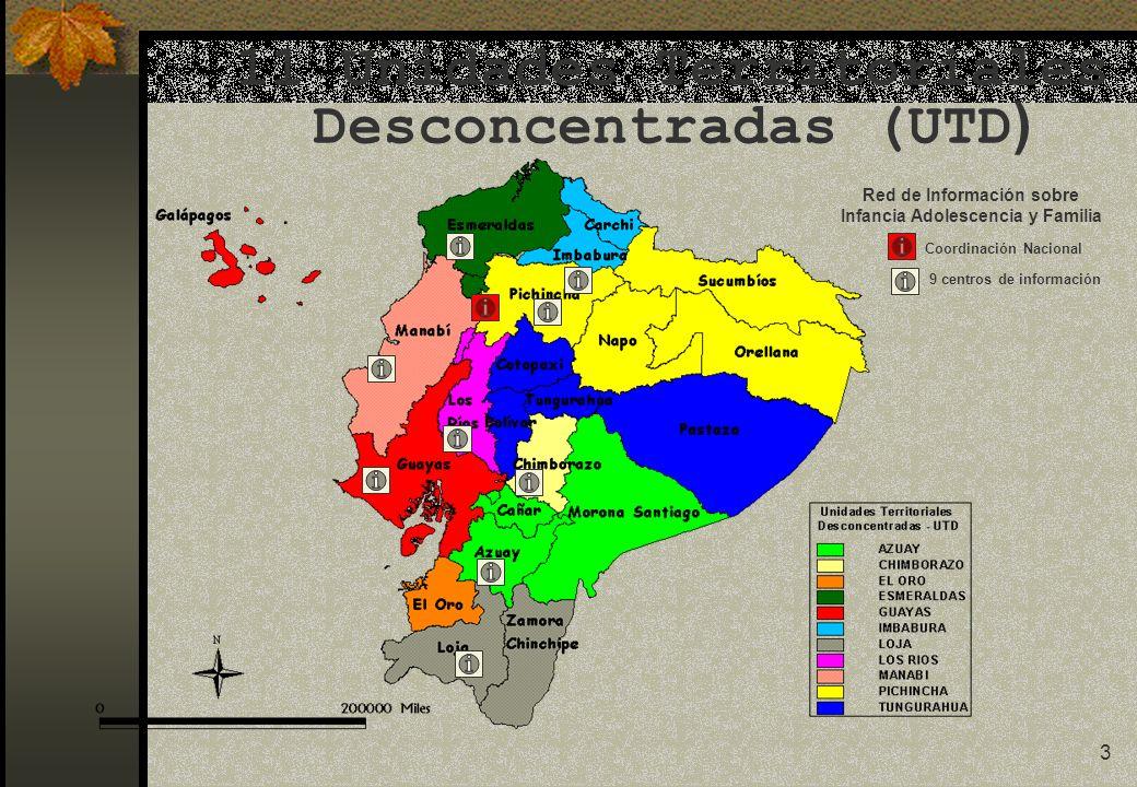 3 11 Unidades Territoriales Desconcentradas (UTD ) Red de Información sobre Infancia Adolescencia y Familia Coordinación Nacional 9 centros de información