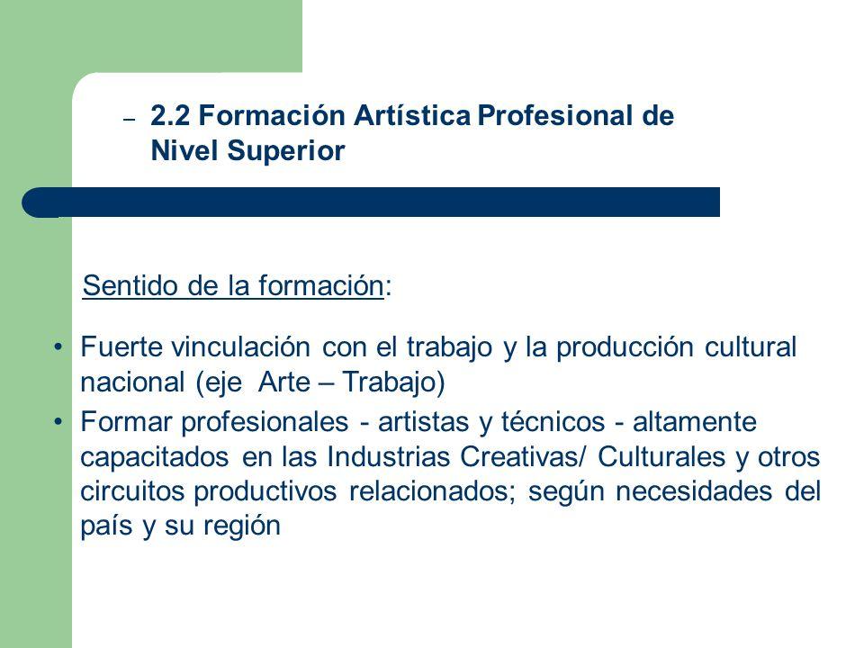 – 2.2 Formación Artística Profesional de Nivel Superior Fuerte vinculación con el trabajo y la producción cultural nacional (eje Arte – Trabajo) Forma