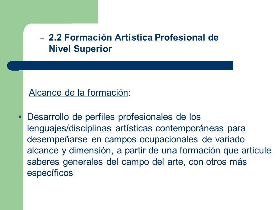 Alcance de la formación: – 2.2 Formación Artística Profesional de Nivel Superior Desarrollo de perfiles profesionales de los lenguajes/disciplinas art