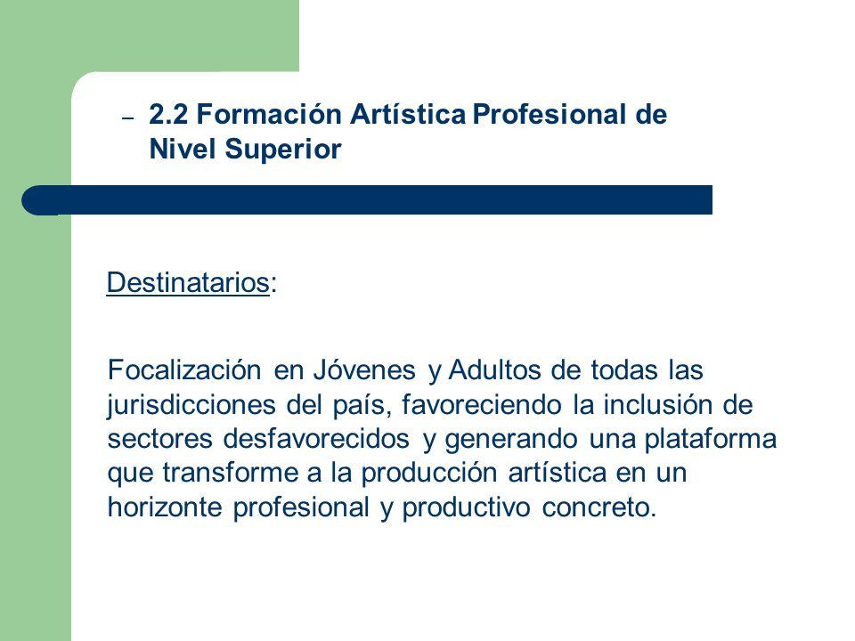 Destinatarios: – 2.2 Formación Artística Profesional de Nivel Superior Focalización en Jóvenes y Adultos de todas las jurisdicciones del país, favorec