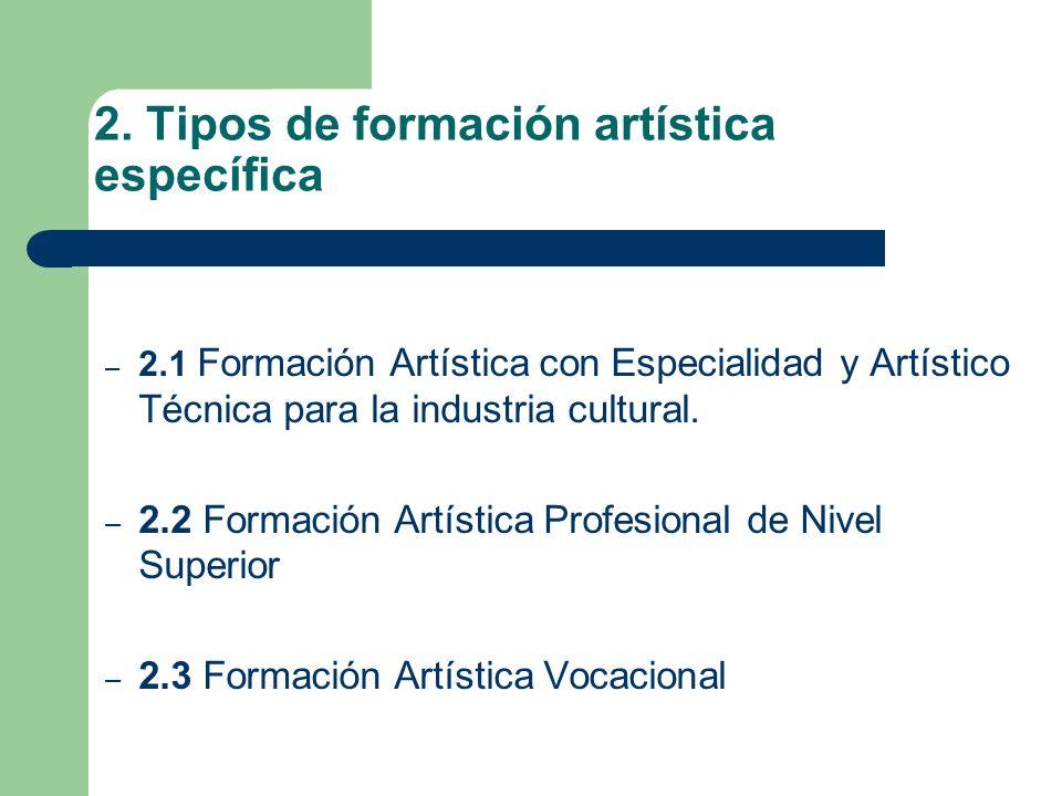 2. Tipos de formación artística específica – 2.1 Formación Artística con Especialidad y Artístico Técnica para la industria cultural. – 2.2 Formación