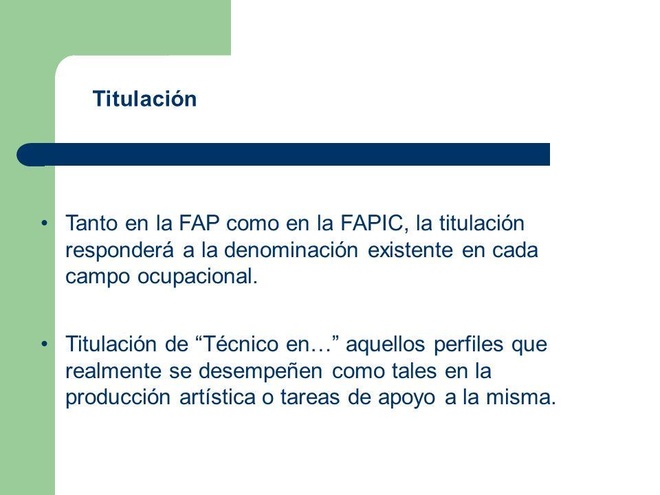 Tanto en la FAP como en la FAPIC, la titulación responderá a la denominación existente en cada campo ocupacional.