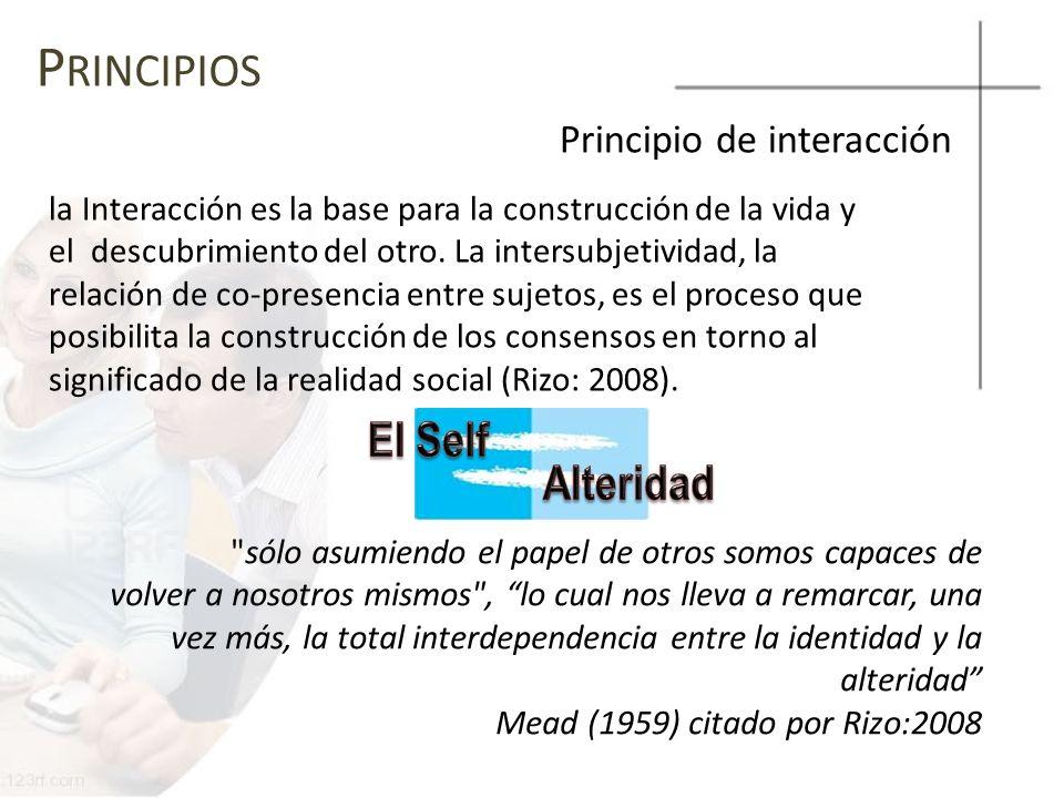 P RINCIPIOS Principio de interacción la Interacción es la base para la construcción de la vida y el descubrimiento del otro. La intersubjetividad, la